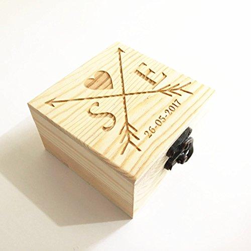 Caja para anillos de boda de madera rústica, personalizable