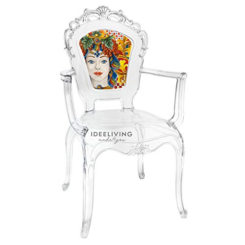 Sessel aus Polycarbonat mit Armlehnen, Kollektion Baroque & Rock Sicily, von Baci Milano, rote Dame