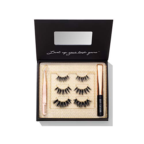 MoxieLash Dramatic Kit - Mini Liquid Magnetic Eyeliner for Magnetic Eyelashes - No Glue & Mess Free - Fast & Easy Application - 6 Lashes Included & Makeup Removers & Instruction Card Included