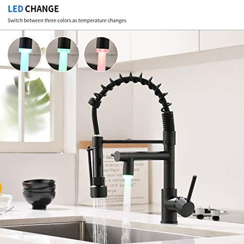 QD Wasserhahn Küche Schwarz mit LED Mischbatterien Ausziehbar fuer Kueche Gastro Armatur Einhandmischer für Küchen Spüle Spülbecken