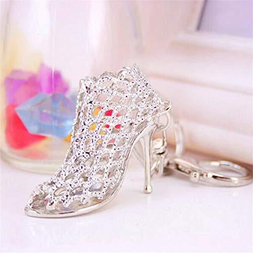 HNCE High Heel Fashion Shoe Silver Keyring Pendant Chain - Cute Key Ring Gift - Metal High-Heels Rhinestone Sparkle Charm
