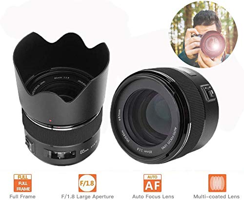 Topiky 85mm F/1.8 AF Auto Focus Medium Telephoto Full Frame Lens met kap voor Canon EF Mount DSLR Camera