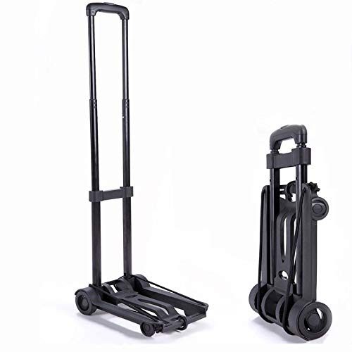 Folding Luggage Cart with 2 Wheels Lightweight Iron Collapsible Folding Hand Truck for Shopping Travel, Moving and Office Use Trolley (Black)