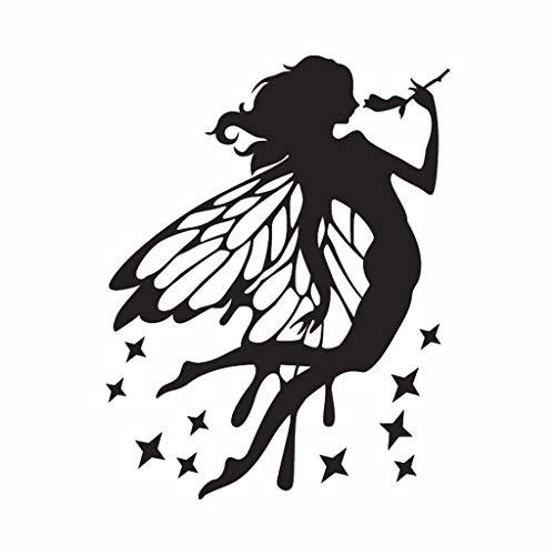 Fee Meisje Sterren Muursticker Vinyl Sticker Gepersonaliseerde Aangepaste Naam Kwekerij Meisjes Baby Kinderen Kind Slaapkamer Decoratie 57 * 35cm Zwart