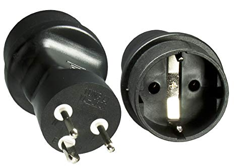 DINIC Reisestecker, Stromadapter für Dänemark, 3-Pin Netzadapter (3 Stück, schwarz)