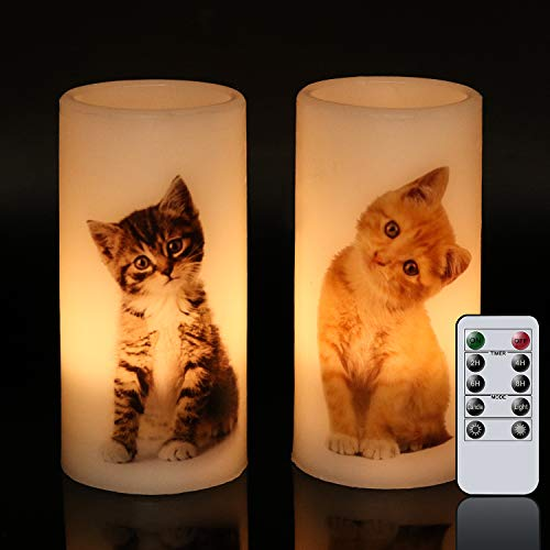Wondise Flameless Flickering Candles Battery Operated with Remote Timer, Set of 2 Real Wax LED Pillar Candles with Lovely Cat Decal for Thanksgiving Christmas Home Decoration Gifts(White, 3x6 Inches)
