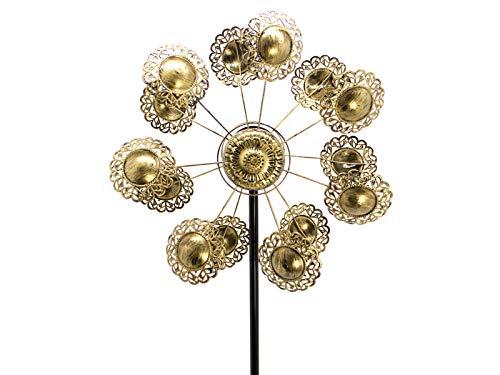 HAFIX XXL Windrad - Windsonne - mit Zwei Sonnen für 3D Optik. Windspiel aus Metall mit max. Höhe 183cm. Windspiel für Garten als Dekoration UV-beständig und wetterfest.