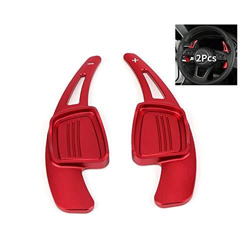 SANRILY DSG Red Steering Wheel Shift paddle Gear Shifter Extension For Audi TT Q7 R8 A6 S5 A4 B9 A5 Q2 S3 S4 TT TTS 2016 2017 2018 Replacement Kit CNC Billet Aluminum Sport Shift Paddles Shifters