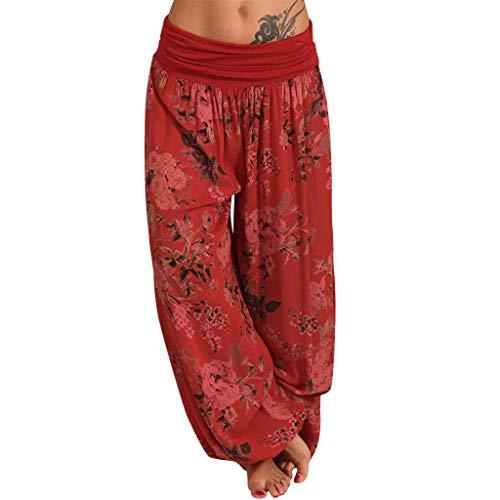 Haalife◕‿ Elephant Harem Pants for Women eleastic Waist Boho Flowy Yoga Harem Pants Long Beach Summer