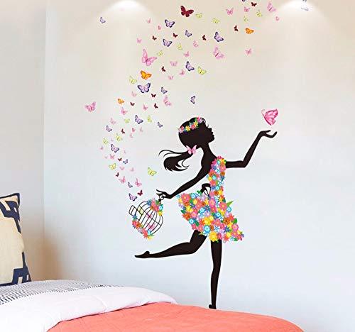 Hanjiming Chica De Hadas Pegatinas De Pared De Vinilo Diy Mariposas Bicicleta Calcomanías Murales Para Habitaciones De Niños Jardín De Infantes Dormitorio Decoración