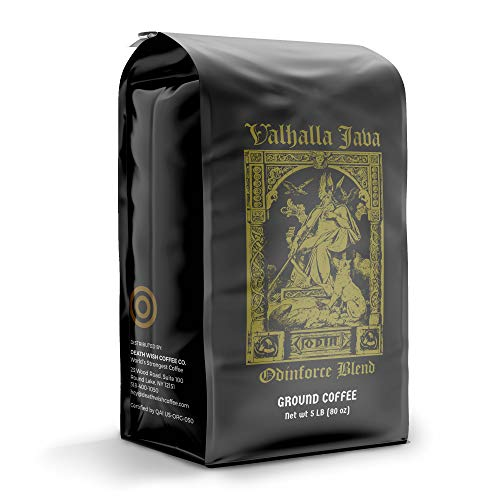 VALHALLA JAVA Bagged Coffee Grounds [5 Lbs.] World's Strongest Coffee, USDA Certified Organic, Fair Trade, Arabica, Robusta (1-Pack)