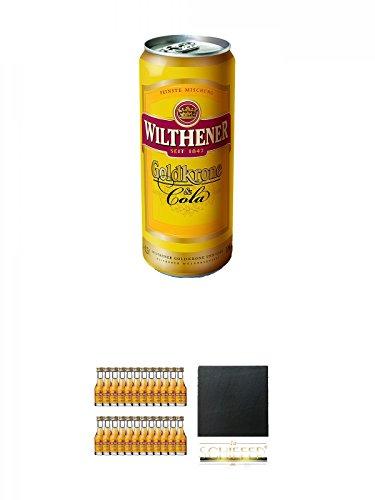 Wilthener Goldkrone und Cola 250 ml Dose + Wilthener Goldkrone (28% Vol) 24 x 0,02 Liter + Schiefer Glasuntersetzer eckig ca. 9,5 cm Durchmesser