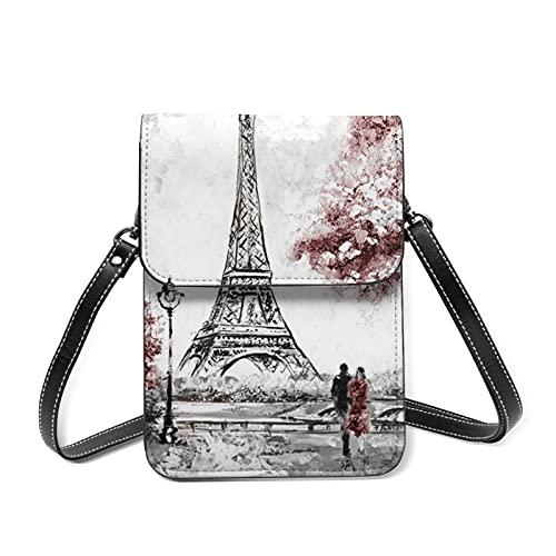 Bolso bandolera París, Eiffelturmbrücke Hauptstadt1 - Cartera de piel sintética para mujer, con cremallera, impermeable, multifuncional