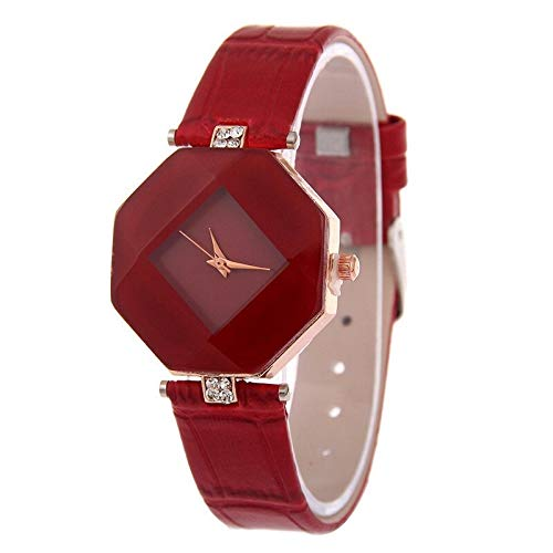Moda Relojes de Mujer Geometría Cortada Geometría Cristal de Cuero Cuarzo Reloj...