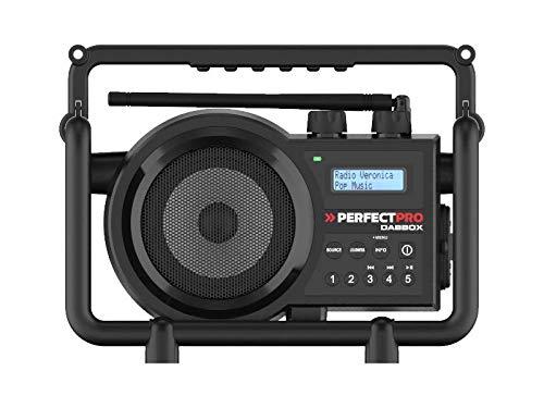 PerfectPro Baustellenradio Dabbox, DAB+ und UKW-Empfang, Bluetooth, Wiederaufladbar, AUX-Eingang, Stoßfest, IP54, DBX3