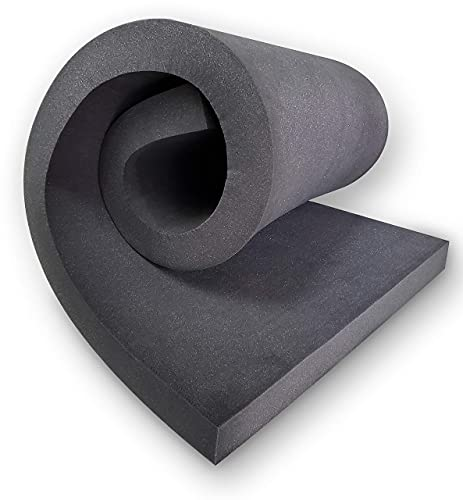 Cojín de espuma viscoelástica para tapicería, asiento firme de espuma de alta densidad, asiento de espuma, relleno de espuma para ventana/taburete/silla, 5 cm de grosor, color negro