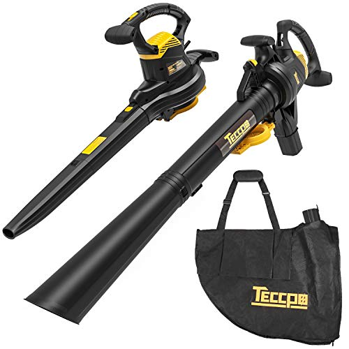 Best Prices! TECCPO 3-in-1 Leaf Blower/Vacuum/Mulcher, 12 Amp Professional Leaf Vacuum, Variable Blo...