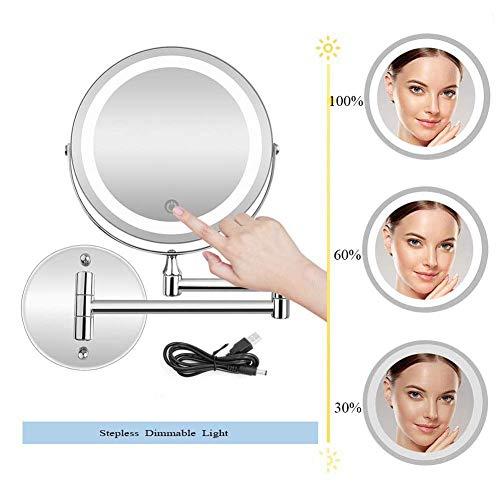 LY88 Cosmeticaspiegel Oplaadbare verlichte wandhouder met dimbare lampen, 10-voudig met lampen en vergroting, touchscreen, dubbele cosmeticaspiegel