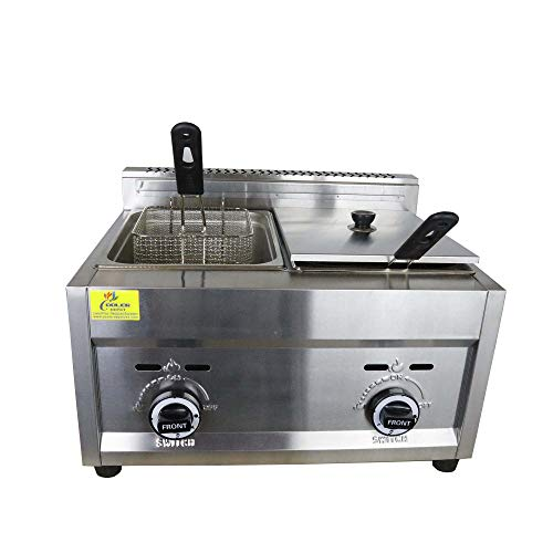 "Commercial Deep Fryer with Basket & Lid, using Propane, Double Tank/Two Compartment-2X3.5 Gallon Capacity, 26 Liter-Stainless Steel 25 lb. 23"" Countertop"