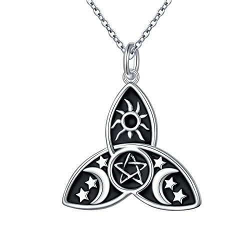 Alphm S925 Sterling Silver Celtic Necklace Triple Moon Pentagram Pentacle Necklace Pagan Wicca Viking Witch Pendant Necklace Celtic Knot Necklace,18' Chain,for Women Teen Girl or Boy Men