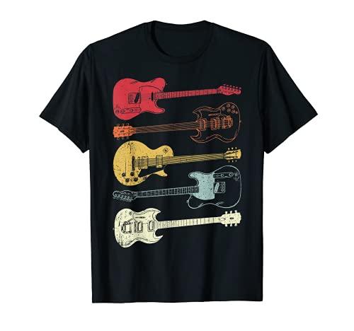 Hombre Guitarras Músico Retro Vintage Regalo Camiseta