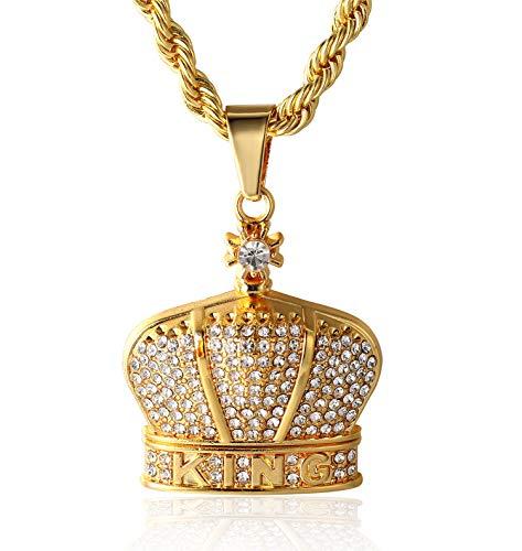 Halukakah  Kings Landing  Hombres 18K Oro Verdadero Plateado Full Cz Diamante King Carta Corona Colgante Collar con Cadena de Cuerda Gratis 75cm(30') Grueso 5mm
