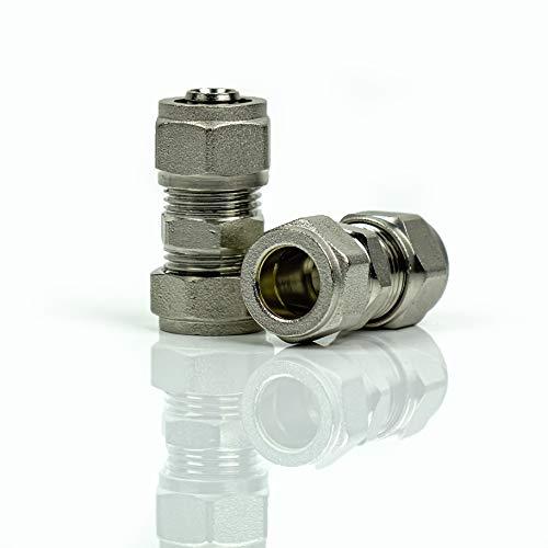 Dismy BHFP-153 adaptador reductor con 16 mm tubería y 15 mm de cobre compresión (2 unidades)