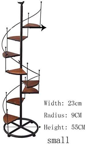 Estantes para macetas Hierro Negro Metal Escalera de Caracol Soporte de exhibición 8 Niveles, para Sala de Estar Interior Decoración de balcón en Negro (Tamaño: 23 * 9 * 55 cm)