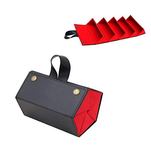 LTHTX Organizador de gafas de sol, 5 pares de fundas plegables de piel sintética, Negro ,