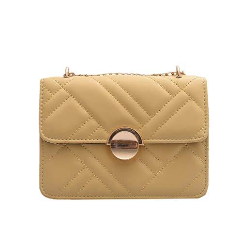 TENDYCOCO Bolso de Hombro pequeño para Mujer Elegante Bolso de Cadena de Cuero de PU con Rejilla de Bloque de Cadena de Estereotipos Rejilla (Amarillo)