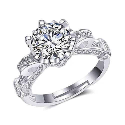 N\C Anillo de plata de ley 925 chapado en platino para mujer, color D. El diamante principal es de 1 quilate. El tamaño se puede ajustar para propuestas, compromiso, boda, día de San Valentín