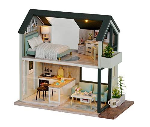 Kit Casa Bambole in Legno 3D con Mobili E Musica Sweet Time House GuDoQi Miniatura Casa delle Bambole Luce A LED,Kit Modello Mini Fatto A Mano per Adulti da Costruire