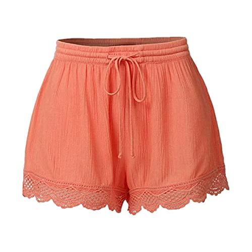 N\P Pantalones cortos de cintura alta con cordón para mujer, casual, atletismo, fitness activo