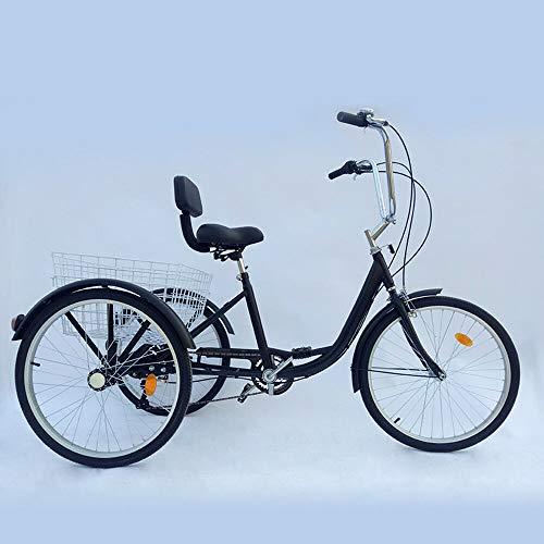 Triciclo a 6 marce, per adulti, 24', bicicletta per adulti, 3 ruote (nera)