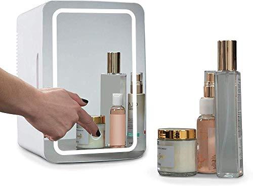 Mini nevera 8 litros de mini neveras cosmeticos, 2 en 1 maquillaje espejo Cuidado de la Piel Nevera con luz LED, compacto refrigerador portable más caliente mini frigorífico for el dormitorio, oficina