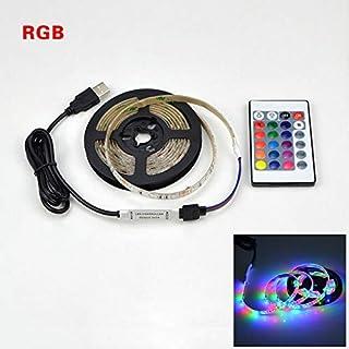 Cinta de luz 2835SMD DC5V LED tira flexible USB LED lámpara de la cinta 1M 2M iluminación retroiluminación de la pantalla Bias 3M 4M 5M HDTV Desktop (Emitting Color: RGB With 24Keys)