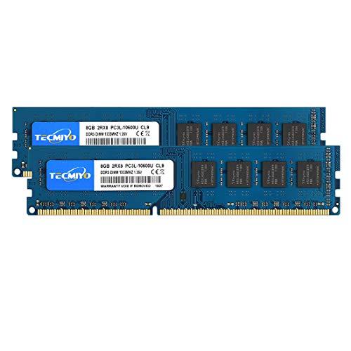 TECMIYO 16GB Kit(2X8GB) PC3L-10600U DDR3/DDR3L 1333MHZ Udimm PC3-10600 DDR3-1333 DIMM 2RX8 Dual Rank 240 Pin 1,35/1,5V CL9 Nicht-ECM ungepuffertes Desktop-RAM-Speichermodul
