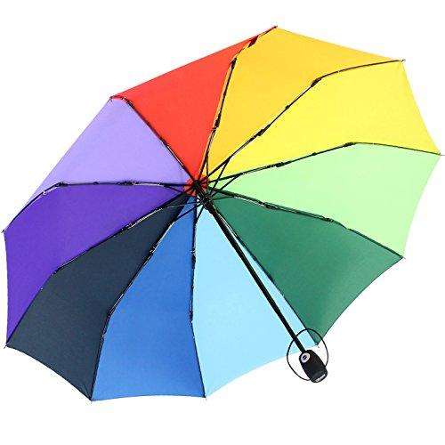 iX-brella extra Stabiler Regenschirm 10-teilig Auf-Zu-Automatik - Regenbogen bunt