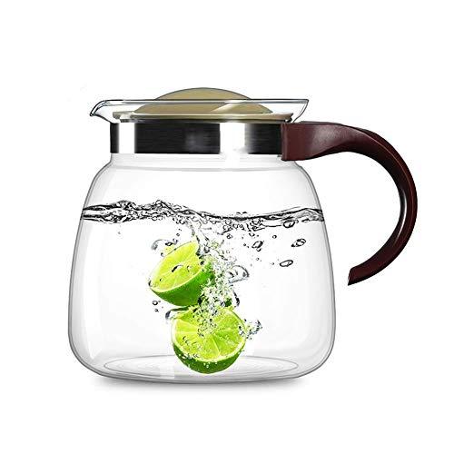 ZXL Theepot 1800ml/60.87oz Glas Pitcher Met Handvat En Strainer Deksel Karaf Hittebestendigheid Druppelvrije Fles Voor Sangria Hete En Koud Water Melk Voor Thee