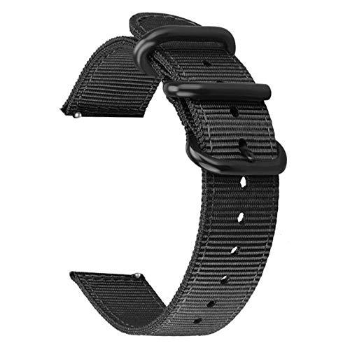 WATORY Armband kompatibel mit Amazfit Bip, Quick Release Premium Nylon Uhrenarmband Ersatzband mit Verstellbarem Verschluss für Xiaomi Huami Amazfit Bip, Amazfit Bip lite, Amazfit GTS. Schwarz