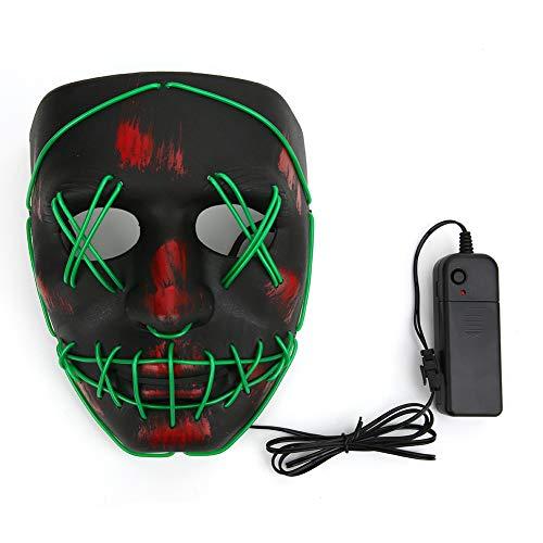 QiruIXinXi Máscara de sangre de miedo con iluminación LED, disfraz de máscara de sangre de 3 modos de iluminación, para atmósfera de Halloween (verde)