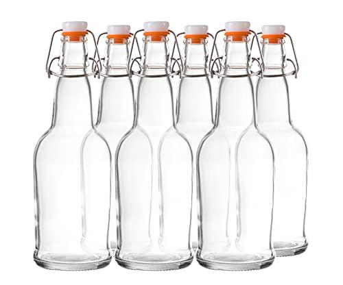 Bellemain Swing Top Grolsch Glass Bottles 16oz - CLEAR - For Brewing Kombucha Kefir Beer (6)