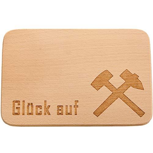 Spruchreif PREMIUM QUALITÄT 100% EMOTIONAL Tabla de desayuno de madera · Tabla de cortar pan con grabado de suerte · Diseño mazo y hierro · Regalo para montañeros · Ceche y minería · Ruhrpott