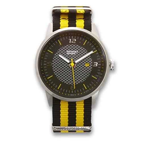 Renault Sport – Armbanduhr Elegance – Herren – Analog Quarz – Armband aus Nylon Schwarz und Gelb