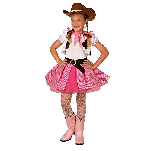 Morph Rosa Cowgirl Kostüm für Mädchen, Niedliches Faschingskostüm Kinder, inkl. Cowboy Hut - S (104- 116cm)