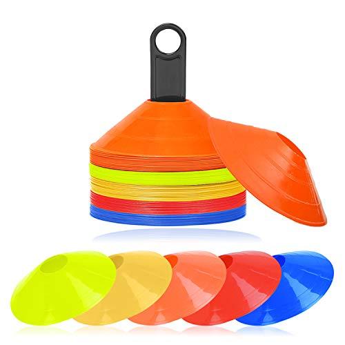 UISEBRT Markierungshütchen 50 Stück - Profi Markierungshütchen Set für Fussball, Hockey, Handball oder Trainingshilfe für Koordination