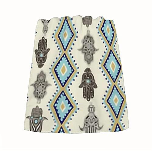 Hamsa - Toalla de mano pequeña de Fatima de microfibra, suave, absorbente y secado rápido (1 paquete, 35 x 73 cm)