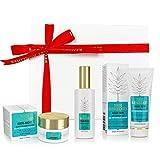 1001 Remedies Set de Belleza - Regalos Originales para Mujer con Gel Aloe Vera para el Acne, Crema Corporal Anti Estrés y Aceite de Argan en Caja Regalo