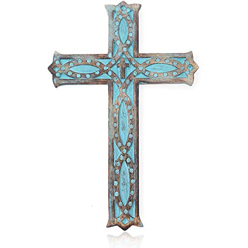 """Wooden Wall Cross Decorative Spiritual Art Sculpture 12"""" Wall Hanging Blue Religious Rustic French Crosses Gift Idea for Birthdays, Easter, Christmas, Weddings, or Any Occasion"""