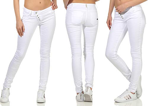 Buena Vista Damen Jeans Kim Stretch Twill Hose Knopfleiste Pants Trousers weiß weiß L